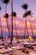 Preview iPhone wallpaper Beach, sunbeds, palm trees, ocean, night
