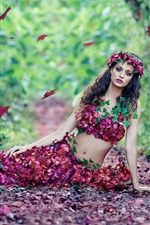 Preview iPhone wallpaper Beautiful girl, flowers dress, leaves, autumn
