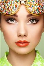 Preview iPhone wallpaper Beautiful girl, portrait, makeup, sunglasses