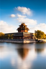 Preview iPhone wallpaper Beijing Forbidden City Moat, China, river, water reflection