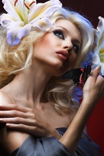 Preview iPhone wallpaper Blonde girl, makeup, butterfly, flowers