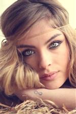 Preview iPhone wallpaper Blonde girl portrait, eyes, lips, look