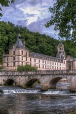 Preview iPhone wallpaper Brantome, Dordogne, France, river, houses, trees