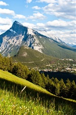 Preview iPhone wallpaper Canada, Banff National Park, mountains, forest, valley, town