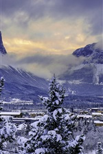 Preview iPhone wallpaper Canada, Banff National Park, winter, snow, mountains, valley
