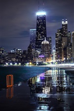 Preview iPhone wallpaper Chicago, Illinois, USA, city, night, skyscrapers, lights, river
