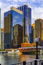 Preview iPhone wallpaper Chicago, Illinois, USA, river, bridge, skyscrapers