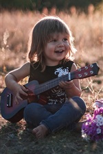 Preview iPhone wallpaper Children, cute girls, guitar