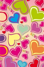 Preview iPhone wallpaper Colorful hearts, love