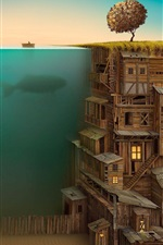 Preview iPhone wallpaper Creative design, house, underwater, boat, fence