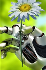 Preview iPhone wallpaper Creative robot, holds chamomile flower