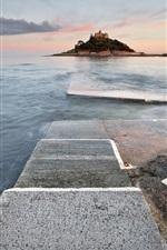 England, Marazion, lighthouse, sea, dusk