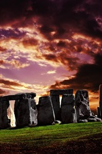 Preview iPhone wallpaper England, Stonehenge, grass, stones, sunset, clouds
