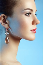 Preview iPhone wallpaper Fashion girl side view, earrings