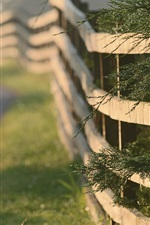 Preview iPhone wallpaper Fence, grass, road, morning