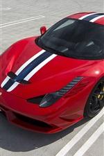 Ferrari 458 Speciale red sportscar top view