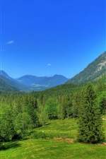 Preview iPhone wallpaper Germany, Bavaria, nature landscape, mountains, forest, trees, blue sky