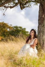 Preview iPhone wallpaper Girl in nature, sitting under tree, white dress
