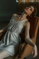 Preview iPhone wallpaper Girl sitting on chair, daze