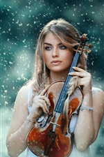 Preview iPhone wallpaper Girl, violin, snow, winter