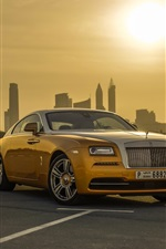 Preview iPhone wallpaper Gold color Rolls-Royce luxury car, Dubai, sunset