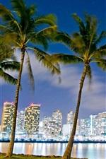 Preview iPhone wallpaper Hawaii, Honolulu, Beach Park, buildings, night, lights