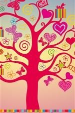 Preview iPhone wallpaper I love you, love tree, hearts