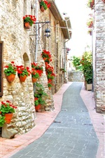 Preview iPhone wallpaper Italy, street, house, flowers, road