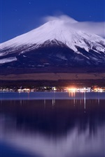 Japan, mount Fuji, lake, night, lights, clouds