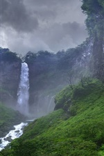 Preview iPhone wallpaper Jungle, waterfall, rocks, sky, clouds, storm