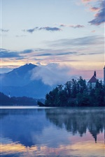 Lake Bled, Slovenia, Mariinsky Church, dawn