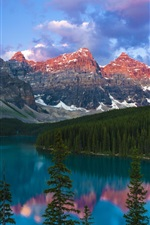 Preview iPhone wallpaper Lake, mountains, forest, trees, Canada