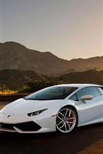 Lamborghini Huracan LP640-4 white supercar at sunset