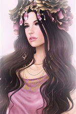 Preview iPhone wallpaper Long hair fantasy girl, flowers, jewelry