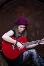 Preview iPhone wallpaper Long hair girl, hat, guitar, music