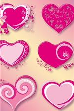 Preview iPhone wallpaper Many love hearts, pink, red, vector