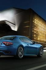 Preview iPhone wallpaper Maserati GranTurismo blue sport car speed