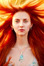 Preview iPhone wallpaper Masha, red hair girl, portrait, storm, wind