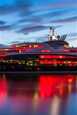 Preview iPhone wallpaper Mega yacht, water, night, lights, clouds