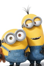Preview iPhone wallpaper Minions cartoon movie, three small yellow people