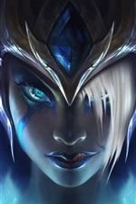 Morgana, League of Legends, capacete, menina rosto