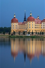 Preview iPhone wallpaper Moritzburg Castle, Germany, water reflection, river, dusk