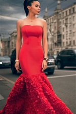 Preview iPhone wallpaper Moscow, fashion model, red dress girl