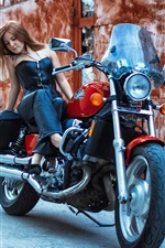 Preview iPhone wallpaper Motorcycle, street, girl