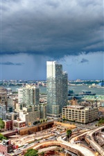Preview iPhone wallpaper New York City, USA, skylines, buildings, clouds, storm