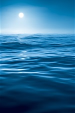Preview iPhone wallpaper Night, water, sea, blue, moon