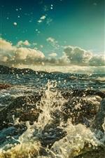 Ocean, beach, rocks, waves, sun