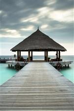 Oceano, recurso, praia, cais, Maldivas