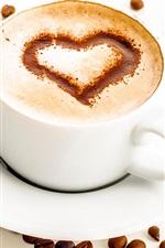 iPhone壁紙のプレビュー ワンカップコーヒー、泡、愛の心、コーヒー豆