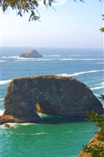 Preview iPhone wallpaper Pacific coast, sea waves, rocks, trees, Oregon, USA